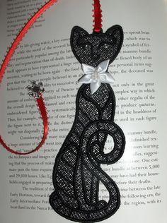 Black cat bookmark by GiGiCuriosities on Etsy