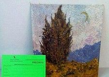 The picture above, courtesy of Artnet news, is a painting that Spanish tax authorities claimed was a Van Gogh work entitled, Cypress, Sky and Country (1889), but is actually a very poor fake.  http://blog.valuethisnow.com/posts/recently-discovered-van-gogh-is-a-fake#sthash.ix3NARYu.dpuf