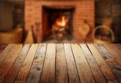 table with fireplace