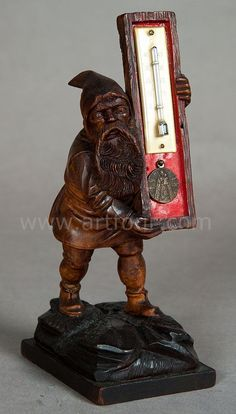 black forest wooden carved dwarf thermometer 1900  #gnome #dwarf