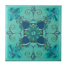 Elegant Teal Green Bathroom or Kitchen Tile - home gifts cool custom diy cyo
