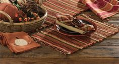 Hayride pattern woven placemats just set a warm fall welcome to your kitchen. See all of the coordinating table textiles and matching patterns @ CountryPorch.com where we make decorating easy & fun!