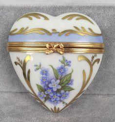 DuBarry Limoges Trinket Box - White Heart Perfume Bottle - Blue Gilt Flowers 328