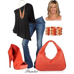 black and bright coral..summer outfit