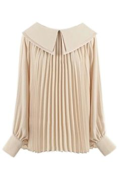 Self-tied Double-layered Color Pleated Apricot Blouse