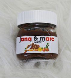 Gastgeschenke - 20x Nutella Etiketten für 25g Gastgeschenk Namen - ein Designerstück von Wedding-Mouse bei DaWanda