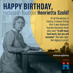 An educated, visionary woman, Henrietta founded Hadassah to end the rampant starvation and disease present in pre-state Israel. Happy Women, Women In History, American Women, Work Hard, Education, Sayings, Lyrics, Working Hard, Teaching