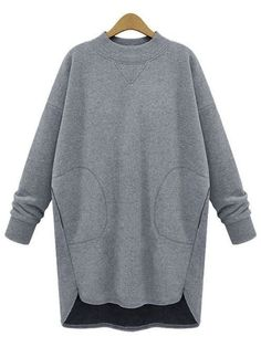 grey crew neck pocket dip hem oversized sweatshirt 21 97 urban style melot - The world's most private search engine Knit Fashion, Sport Fashion, Cool Outfits, Fashion Outfits, Fashion Details, Fashion Design, Sammy Dress, Mode Inspiration, Urban Fashion