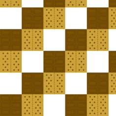 Neverending blocks of s'mores ingredients: graham crackers, chocolate bars, and marshmallows. S'mores are an essential (and delicious) camping treat. Each square is 1.5 inches (3.81 cm)  Please click image, Zoom, or Test Swatch view to see detail.
