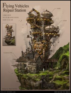 Fantasy City, Fantasy Places, Fantasy Map, Fantasy World, Steampunk City, Arte Steampunk, Steampunk Artwork, Dungeons And Dragons Homebrew, D&d Dungeons And Dragons