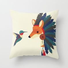 Painted Indian Fox and Hummingbird Throw Pillow with Insert