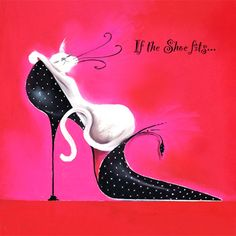 If the shoe fits. Marilyn Robertson designs, from her collected Catitudes art series - Cats and Shoes. Designer cat cards for cat lovers at Tattypuss. Illustrations, Illustration Art, Art Carte, Image Chat, Here Kitty Kitty, Shoe Art, Cool Cats, Cat Art, Cat Lovers