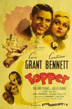 Topper Movie Poster (1937) Constance Bennett, Cary Grant, Roland Young, Billie Burke, Alan Mowbray, Eugene Pallette
