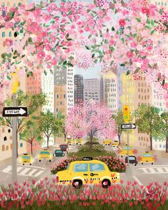 Seasons of NYC - Park Ave by Joy Laforme. Art and illustration Illustration Inspiration, Cute Illustration, Digital Illustration, Watercolor Illustration, New York Illustration, Painting Illustrations, Magazine Illustration, Animal Illustrations, Design Illustrations
