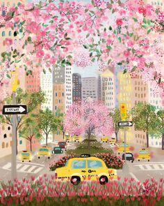 Seasons of NYC - Park Ave by Joy Laforme. Art and illustration Posca Art, Plakat Design, Art And Illustration, Watercolor Illustration, Painting Illustrations, Building Illustration, Magazine Illustration, Animal Illustrations, Design Illustrations