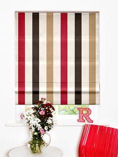 Silken Stripe Raspberry Roman Blind from Blinds 2go