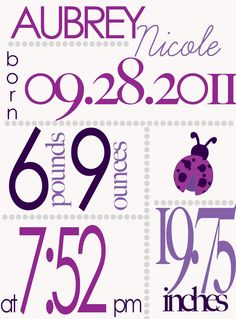Girl Birth Announcement #purple #ladybug