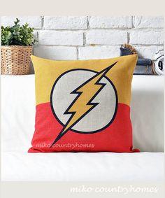"$15 | Superhero Emblem | Flash | Decorative Pillow Cover | 45x45cm 18""x18"" #homedecor #throwpillows #pillowcover #superheroes #flash"