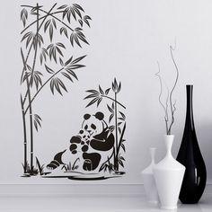 Osos panda y cañas de bambú - VINILOS DECORATIVOS #panda #vinilodecorativo #decoracion #teleadhesivo