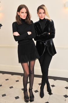"""""""Twenty-three-year old twins Elektra and Miranda Kilbey-Jansson released their first single in 2012. Their debut album, Lucid Dreaming, will be out in February 2015. Their shared style has an inspiring and modern seventies vibe that matches the look of the recent seasons."""" - Photo: Getty Images"""