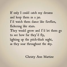 If Only I Could Catch My Dreams by Christy Ann Martine #poems #imagery