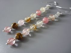 Gemstone earrings. Faceted watermelon by ImagineJewellery on Etsy