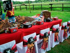 table settings, birthday parties, party themes, pirate theme, pirate birthday, party tables, parti idea, pirat parti, chair decorations