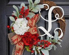 Rustic Hydrangea & Pine Holiday Grapevine Wreath. by WreathDreams