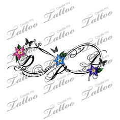 Infinity initials | Color with butterflies too #148433 | CreateMyTattoo.com