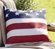 Spruce up outdoor furniture with our American Flag Outdoor Pillow #potterybarn