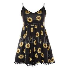 Sunflower Print Spaghetti Straps Waisted Romper ($99) ❤ liked on Polyvore featuring jumpsuits and rompers