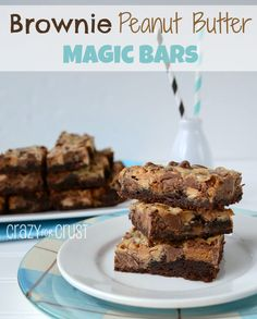 Brownie Peanut Butter Magic Bars by www.crazyforcrust.com | A brownie crust topped with Reese's Peanut Butter Cups!