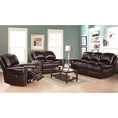 Proudly flaunt your indulgent side with this smooth leather reclining sofa set. The collection features a trio of gorgeous pieces that tilt backwards several inches. Additionally, the two-tone burgundy color adds a warm impression to a room.