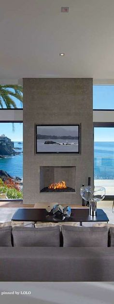 Triple play. View, fireplace & TV