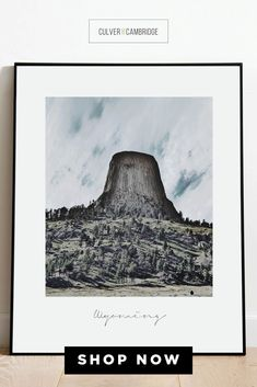 Culver and Cambridge's Wyoming Print. Our vintage-style photo print is a bold, modern art touch featuring your favorite city! Geography prints make a great pair or a set of three or four to celebrate all your favorite places. Our city prints and state posters also make perfect housewarming gifts and going away gifts! || culverandcambridge.com || Wyoming Poster, Devils Tower Wall Art || #poster #artprint #walldecor Posters, Poster Prints, Art Prints, Living Room Prints, Office Prints, Housewarming Gifts, Office Wall Decor, Nature Photos, Wyoming