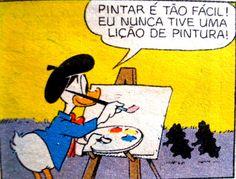 Pato Donald Resolve ser pintor, ilustração Walt Disney.