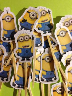Here you have Minion Themed Cupcake Toppers.    These toppers are approximately 4    All orders are by the dozen.    Dont see a character that you
