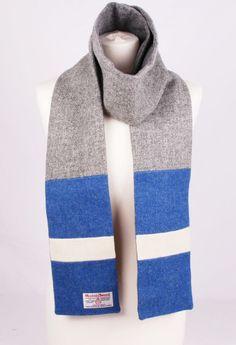 Image of Harris Tweed Grey and Blue Scarf