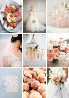 peach and blue-gray summer wedding inspiration