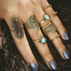 VONRU 8 Pcs/Set Big Natural Stone Ring Sets for Women Anillos Punk Vintage Retro Finger Knuckle Midi Rings Party Boho Jewellery Engagement Jewelry, Vintage Engagement Rings, Vintage Rings, Boho Jewelry, Jewelry Rings, Women Jewelry, Jewelry Watches, Diamond Jewelry, Jewelry Ideas