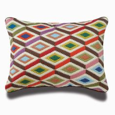 Bargello pillows, hand embroidered using long stitches to form elaborate geometric patterns,multi bargello diamonds pillow, Jonathan Adler, bargello, Pillow