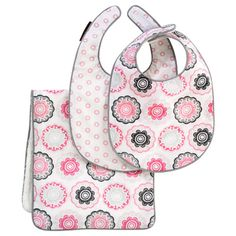 Inspired by nature's best blooms, the Zinnia Rose collection by DwellStudio is fanciful and floral yet graphic and geometric. Soft and absorbent, this bib and burp set is a chic necessity. The 3 piece set includes one burp cloth and two bibs with velcro closure in coordinating prints, both the pale rose Floral Dots and the tonal pinks and grays of Zinnia Rose. The pieces are backed in terry and finished with gray piping detail. #LGRoselynNursery