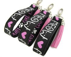 Cat Mom Colorful Black Leather Keychain