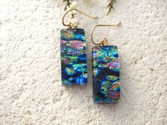 Pink Blue Green Gold Earrings Dichroic Glass Earrings by ccvalenzo