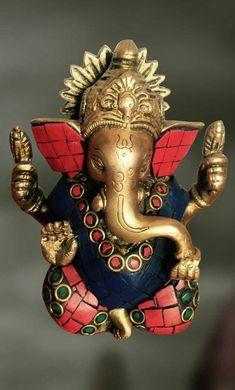Brass and Stone sculpture of Lord Ganesha with an OM symbol - Artisans Crest Ganesh Idol, Ganesha Art, Clay Ganesha, Shiva Art, Ganesha Pictures, Ganesh Images, Ganpati Bappa Wallpapers, Swami Samarth, Lord Ganesha Paintings