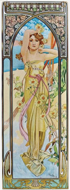 View Times of the Day, Eclat du jour by Alphonse Mucha on artnet. Browse more artworks Alphonse Mucha from David Benrimon Fine Art, LLC. Art Nouveau Mucha, Alphonse Mucha Art, Art Nouveau Poster, Posters Vintage, Retro Poster, Vintage Art, Art Posters, Art And Illustration, Illustration Pictures
