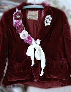 Velvet Blazer Crimson Burgundy Womens Clothing by OfLinenandLace, $85.50