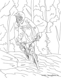 Mountain Bike cycling sport coloring page. More sports coloring pages on hellokids.com