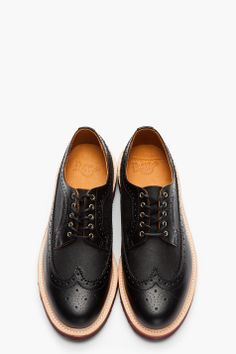 DR. MARTENS Black Leather & Waxed Canvas Alfred Longwing Brogues
