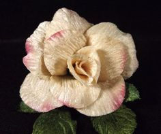 Velvet Rose Cream Pink Edge 3 in Millinery Bridal Flower Crown Corsage Wedding…